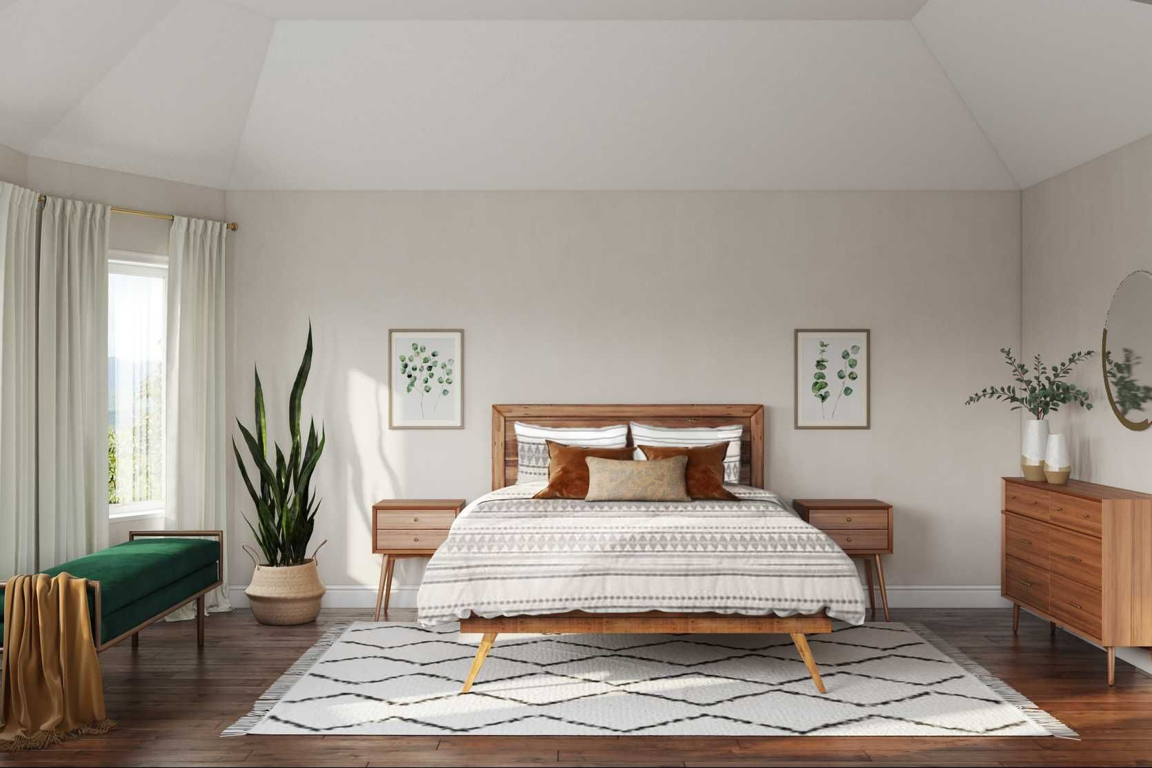Midcentury Modern Scandinavian Bedroom Design By Havenly Interior Designer Kyla In 2020 Scandinavian Design Bedroom Modern Scandinavian Bedroom Bedroom Interior