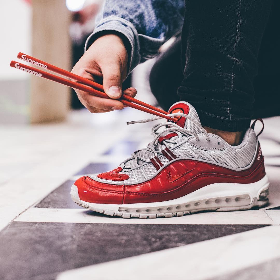 SUPREME Air Max 98 (Red) || SUPREME Chopsticks | Nikes | Pinterest ...