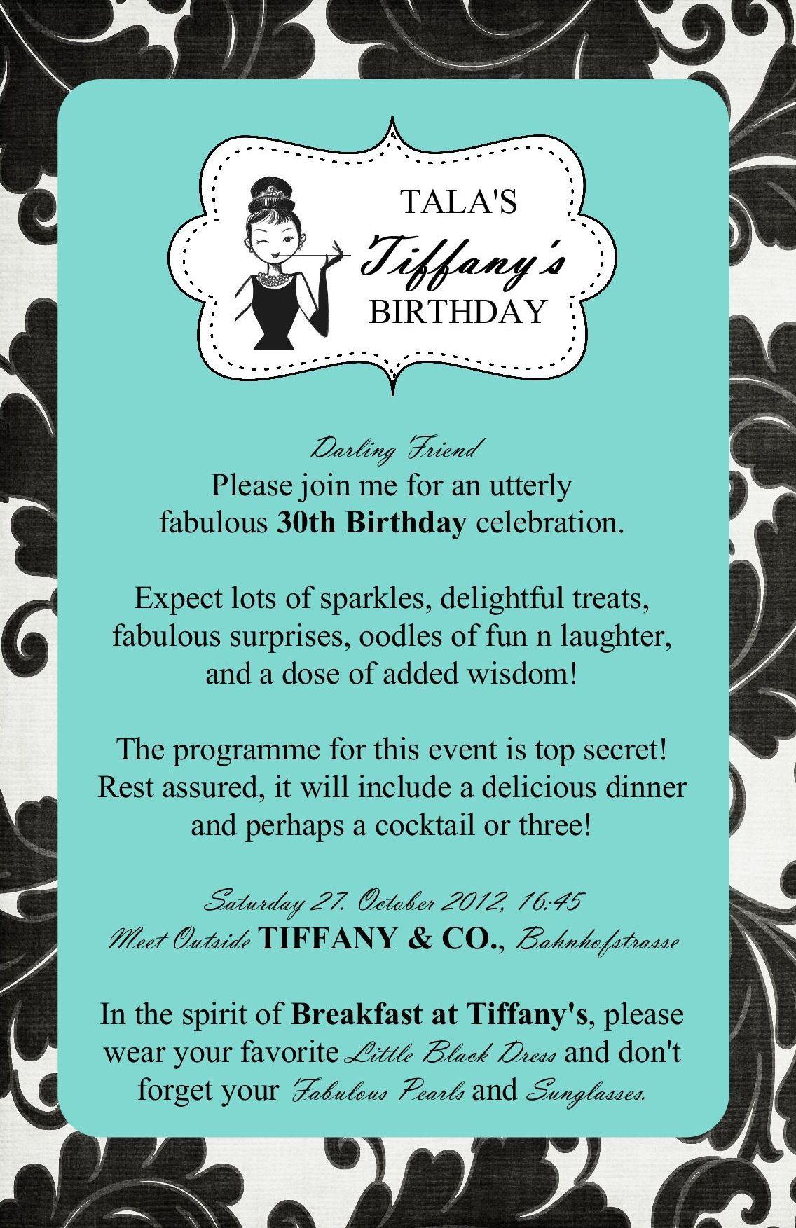 Audrey Hepburn Birthday – Tiffany Blue Birthday Invitations
