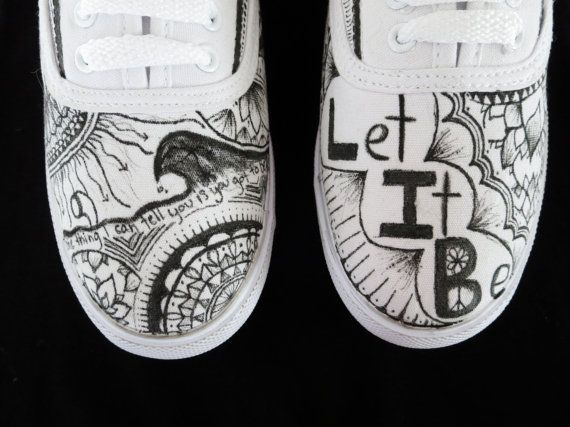 Size 8 Canvas Zentangle Beatles Shoes by ZentangleForYou on Etsy, $35.00
