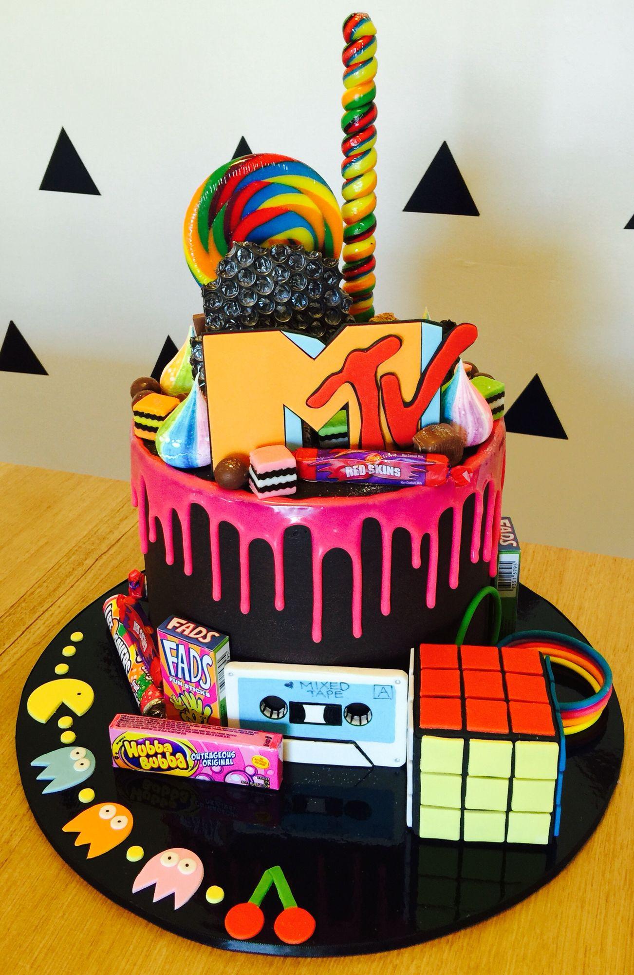 80s Mtv Loaded Drip Cake 40th Birthday Desserts 14th 13th