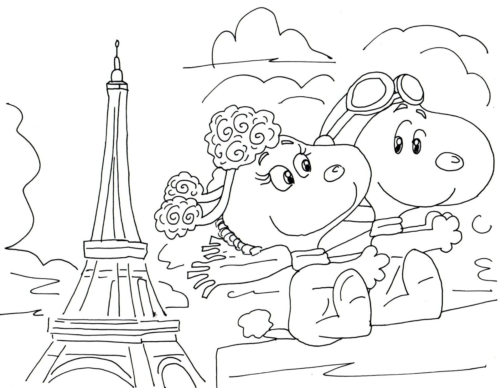 Fifi And Snoopy Free Coloring Page Valentine Coloring Pages