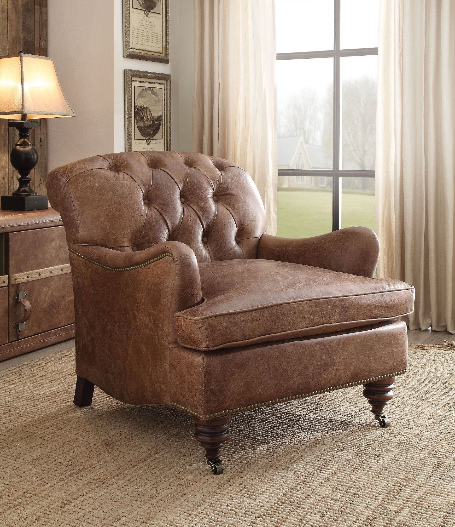 Best Durham Retro Brown Leather Tufted Accent Chair In 2020 400 x 300