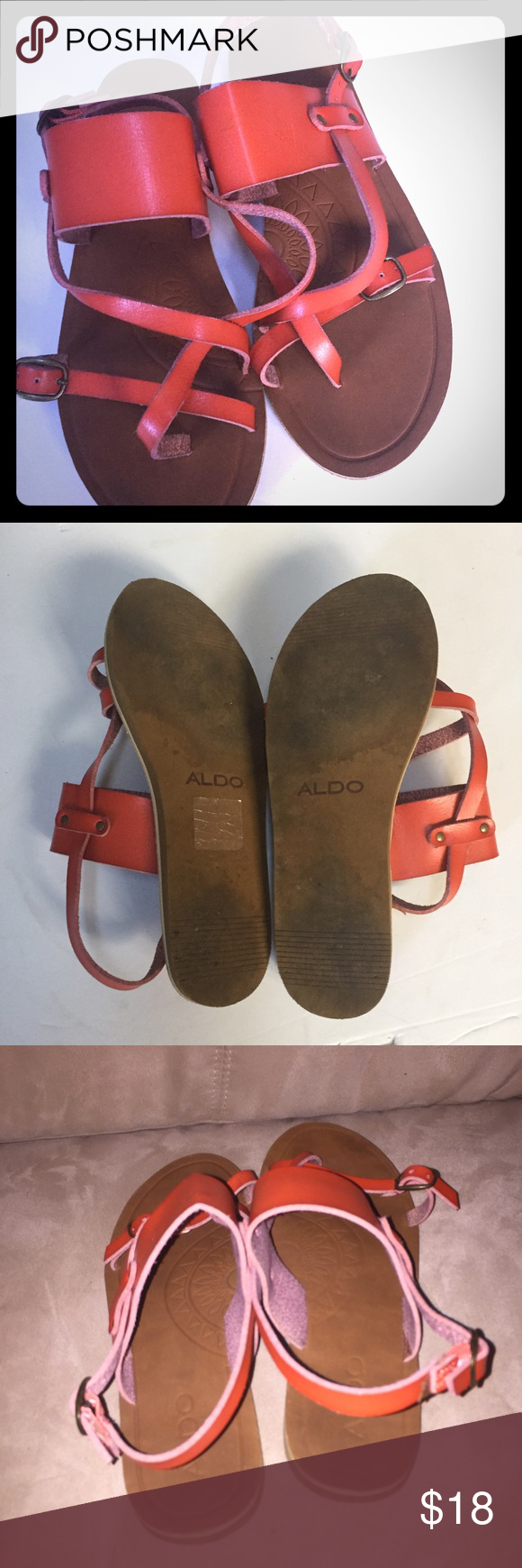 Aldo cute leather orange sandals Aldo Burnt Orange Leather  Sandals Size 7  good condition !!   All items are from smoke free environment Aldo Shoes Sandals