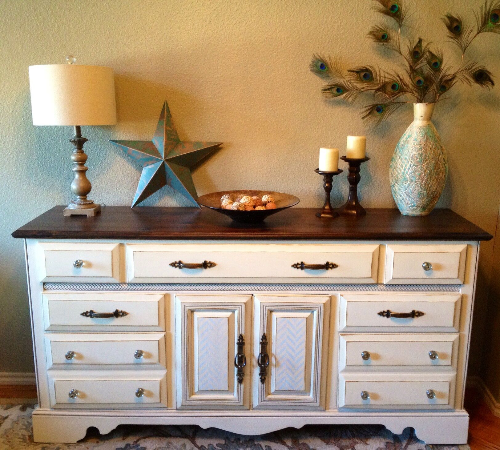 80 S Dresser Updated With Antique White Paint Dark Walnut Stained Top And A Trendy Herrin Cherry Wood Furniture Decor Cherry Wood Furniture Furniture Makeover