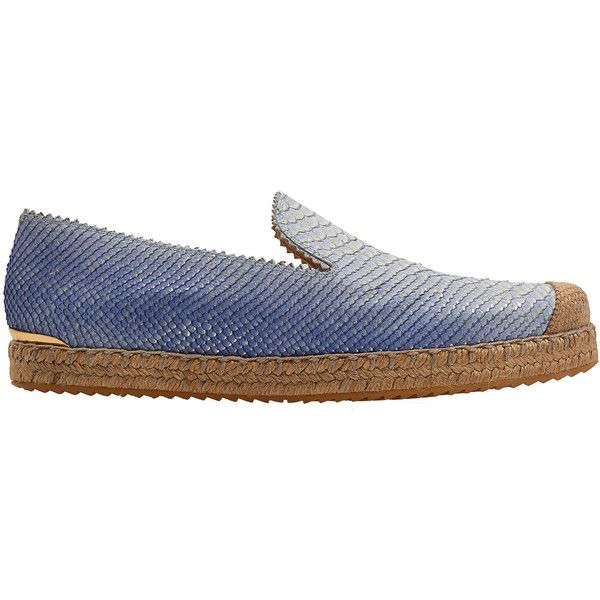Stuart Weitzman Blue Catalan Leather Espadrilles (355 CAD) ❤ liked on Polyvore
