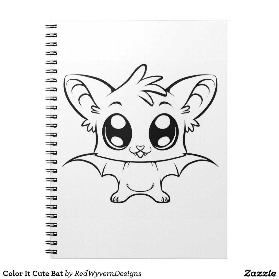 Color It Cute Bat Notebook Zazzle Com Bat Coloring Pages Easy