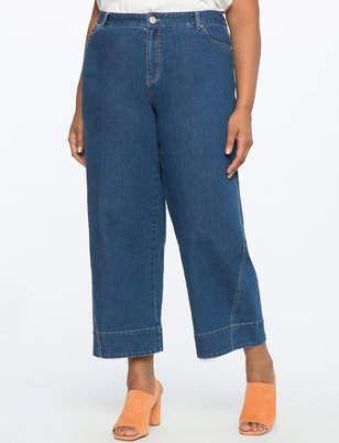 c1d79161b3 Wide Leg Cropped Jeans | Women's Plus Size Pants | Products | Jeans ...