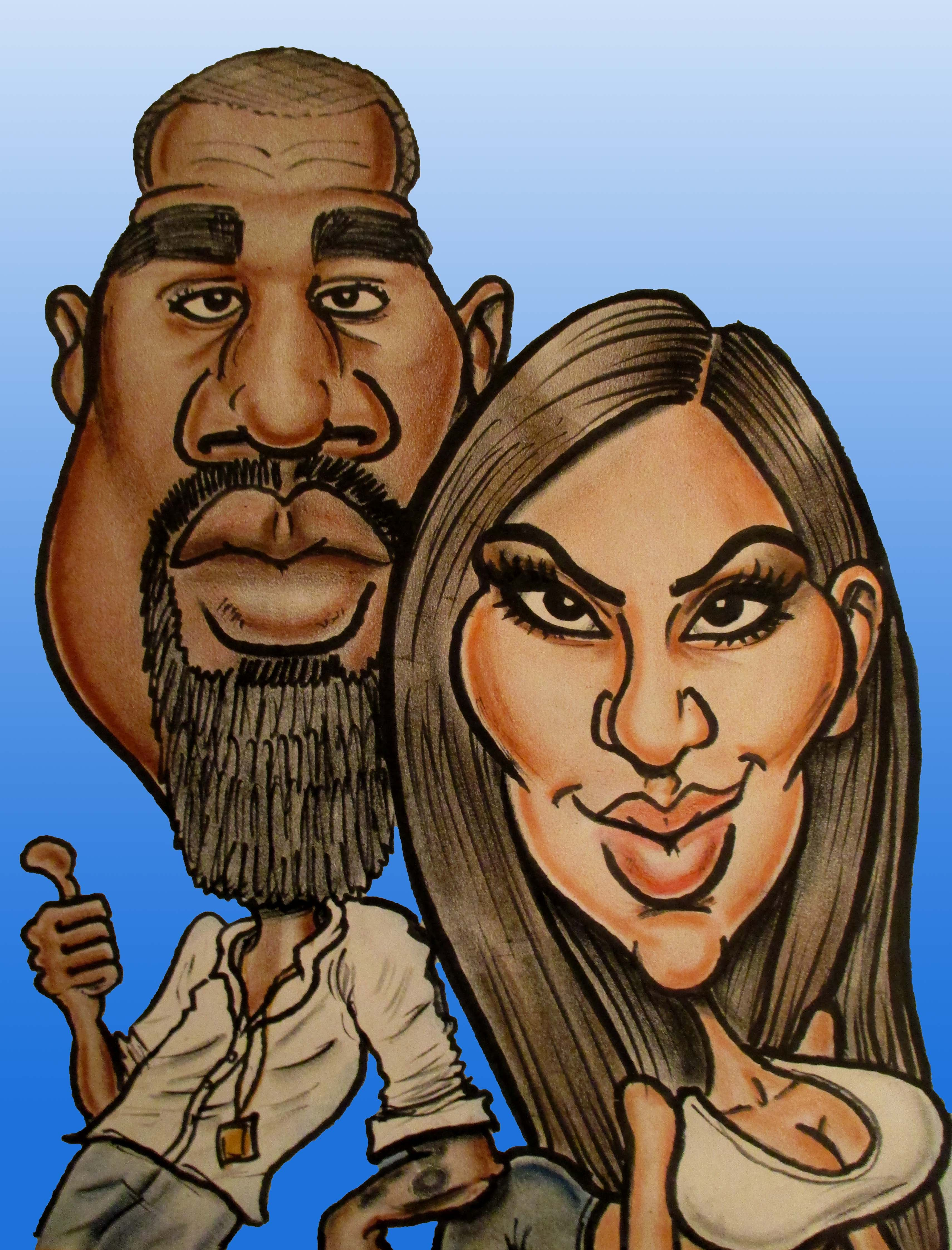Kim And Kanye West Caricature In 2020 Caricature Kim And Kanye Portrait Tattoo