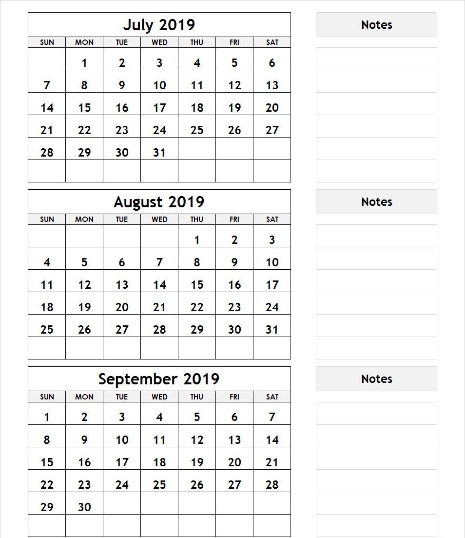 July August September 2019 Calendar Printable Free 2019 Calendar
