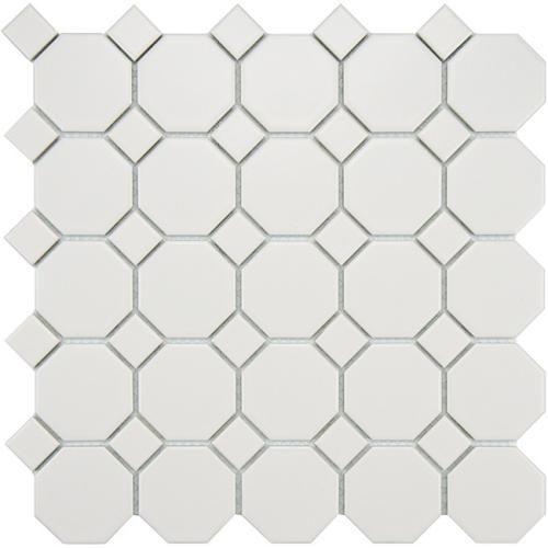 Metro Matte Porcelain Octagon Tile White On White