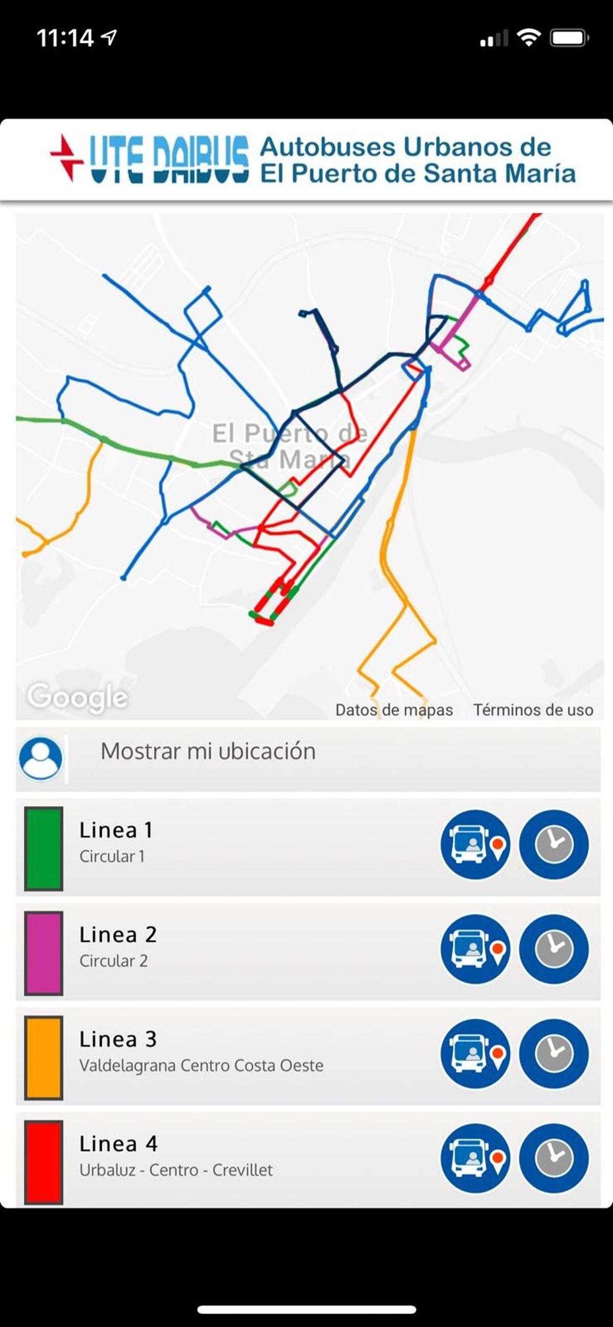 aplicación de los autobuses urbanos de El Puerto de Santa Maria