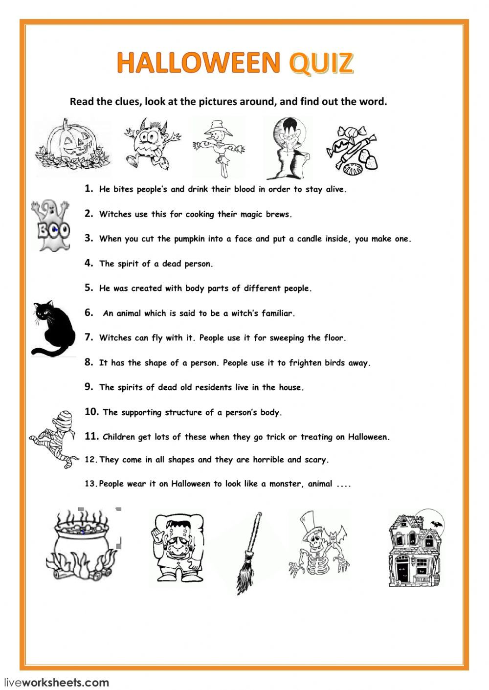 Halloween interactive and downloadable worksheet. You can do the exercises  online or download the workshee…   Halloween worksheets [ 1411 x 1000 Pixel ]
