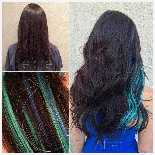 Brown Hair With Blue And Turquoise Streaks Streaks Hair Colour