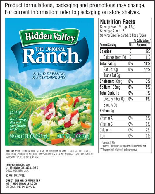 Hidden Valley Original Ranch Salad Dressing Seasoning Mix Ranch Seasoning Recipe Mix Buttermilk Ranch Salad Dressing