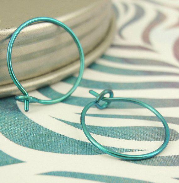 22 gauge Niobium Hoops - Hypo Allergenic - 15mm Anodized Turquoise Earrings. $15.00, via Etsy.