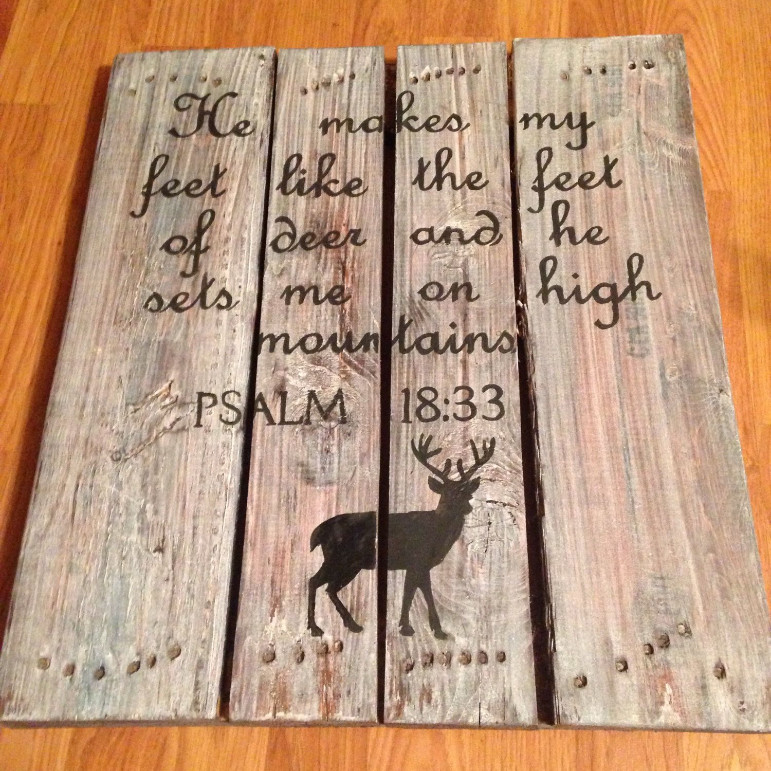 Hand Painted Deer Hunters Wood Pallet Sign Country Rustic