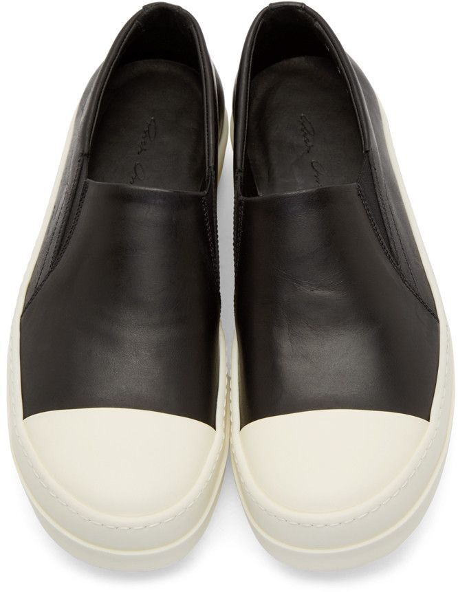 2bdf8cc51767 Rick Owens Black Leather Boat Sneakers  menshoes