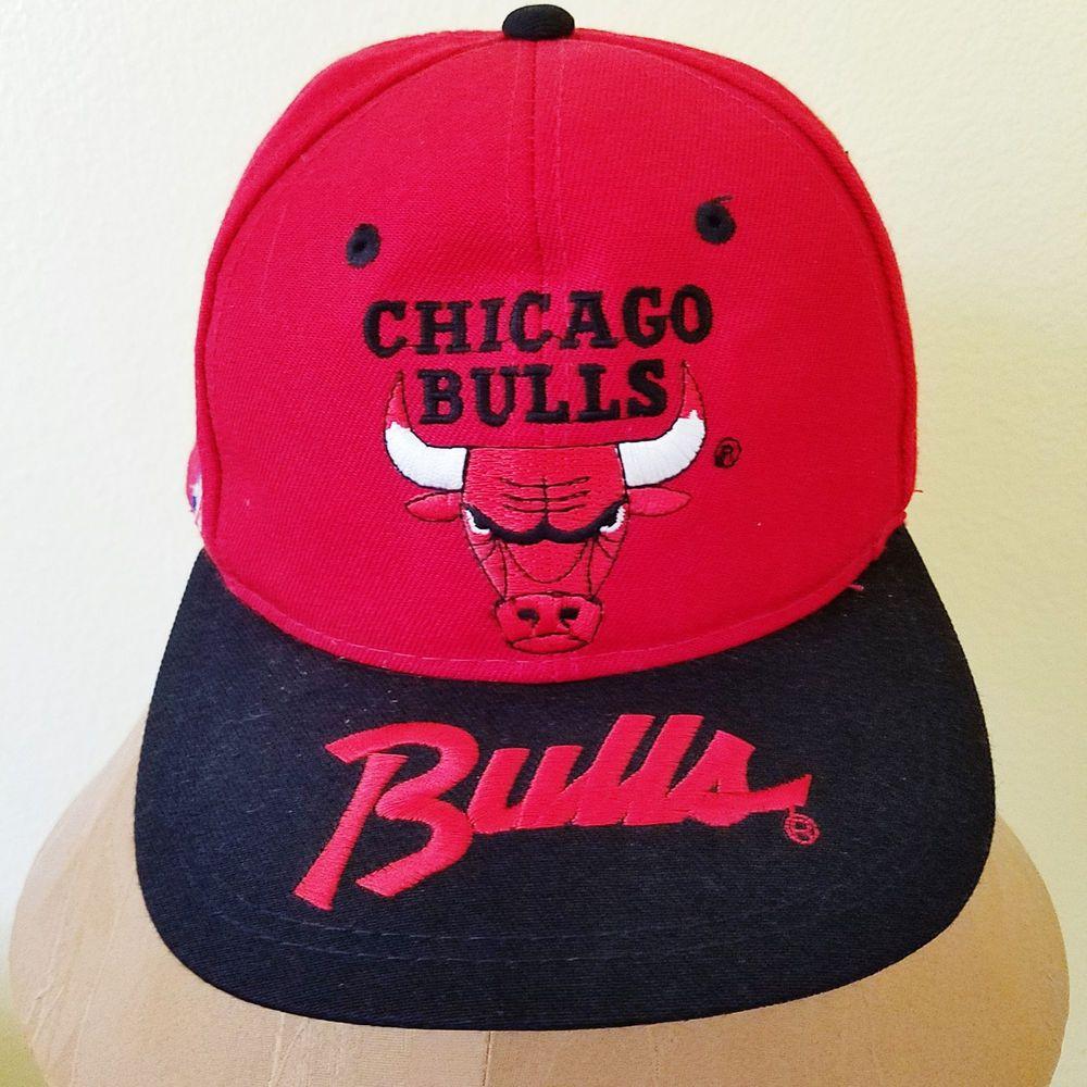 fec3da05ab1 Vintage Sport Specialties Chicago Bulls Brim Script Red Snapback Cap Hat   SportsSpecialties  BaseballCap