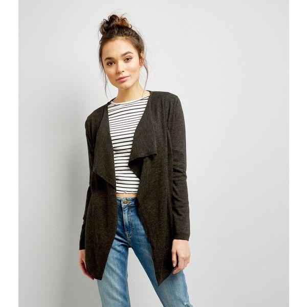 New Look Khaki Fine Knit Waterfall Cardigan (£18) ❤ liked on ...