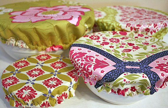 Reusable Picnic Fabric Food Microwave Bowl Cover Michael Miller Secret Garden 4pcs