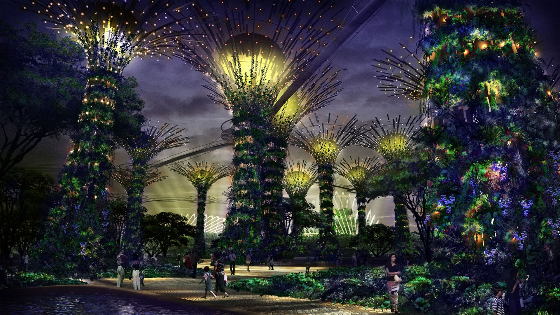 Garden By The Bay At Night panorama beautiful gardensthe bay, singapore | singapore
