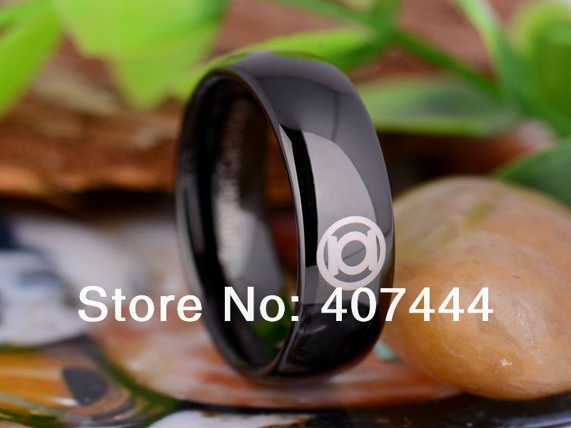 Free Shipping Ygk Jewelry Hot S 8mm Black Dome Green Lantern Superhero Men Tungsten Carbide Wedding