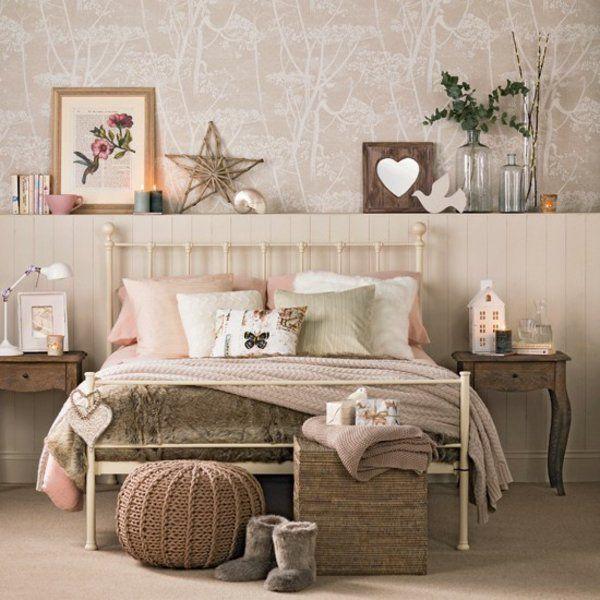 Schlafzimmer dekoartikel regal komplett gestalten braun warm - schlafzimmer einrichten braun