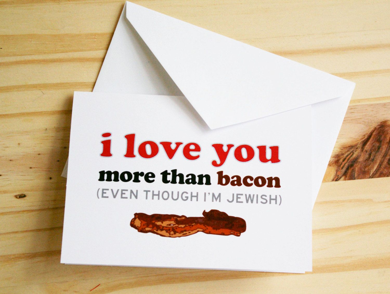 Jewish Valentine's Day Cards Jew it Up! Bacon card
