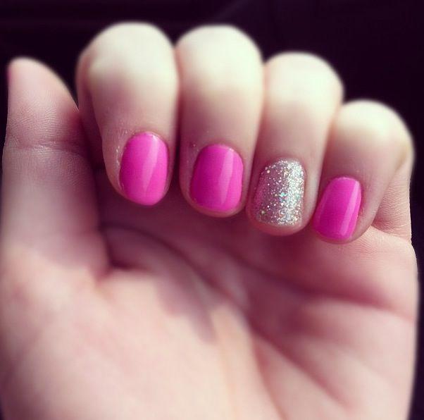 Nails! Gel polish. Pink & sparkly