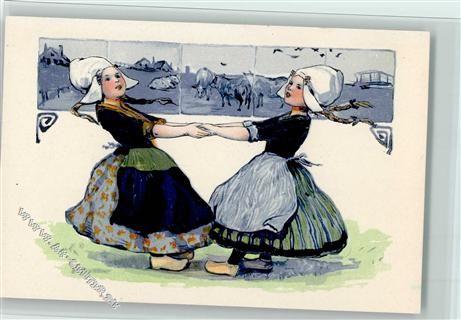Verlag P.F.B. Serie 3939 - Delfter Kacheln - Kinder tanzen ...