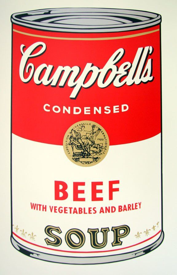 Andy Warhol Campbells Soup Beef Serigraph Sunday B. Morning #andywarhol
