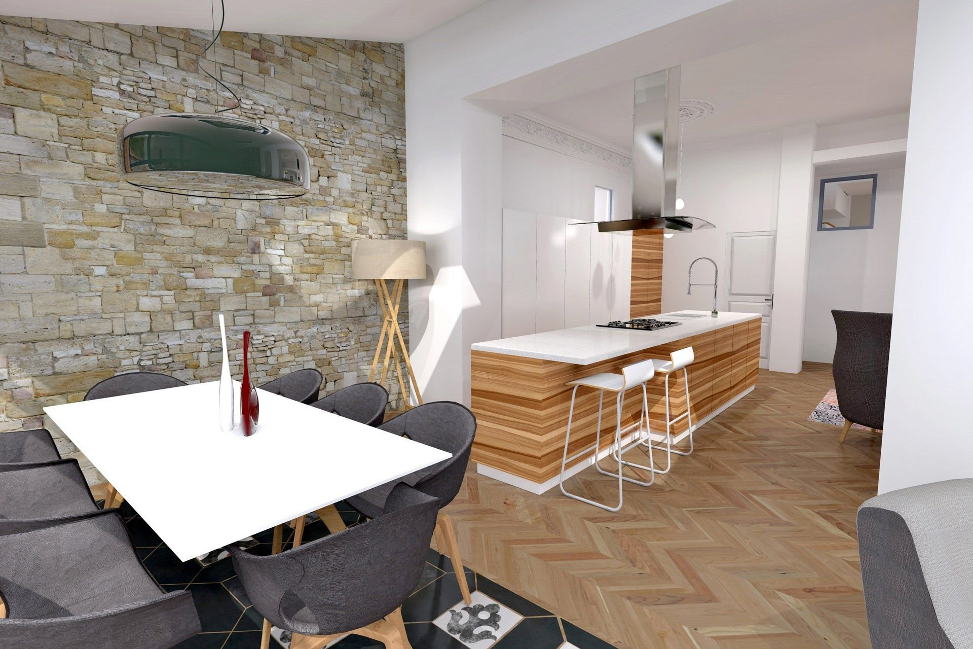 cuisine ouverte mur en pierre agence avous agence avous pi ces vivre pinterest murs de. Black Bedroom Furniture Sets. Home Design Ideas
