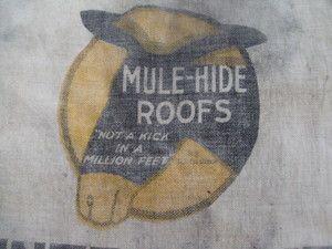 Vintage 30s Metal Rivets Mule Hide Roofs Advertising Work Tool Canvas Bib Apron Work Tools Canvas Bib Apron