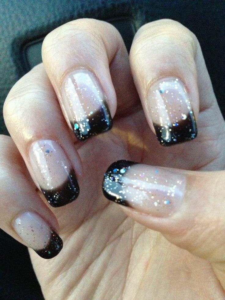 sparkly black french tip nails nails pinterest black