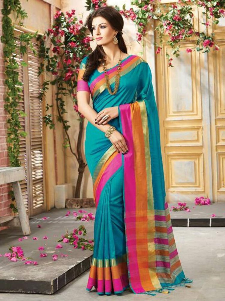 f1825193ab new party wear sarees fabric art silk border south indian look | eBay