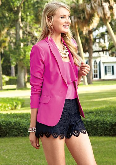 0898373187 We love Daily Chic Pink Blazer s and Lace!  shopdailychic Looks Com Saias