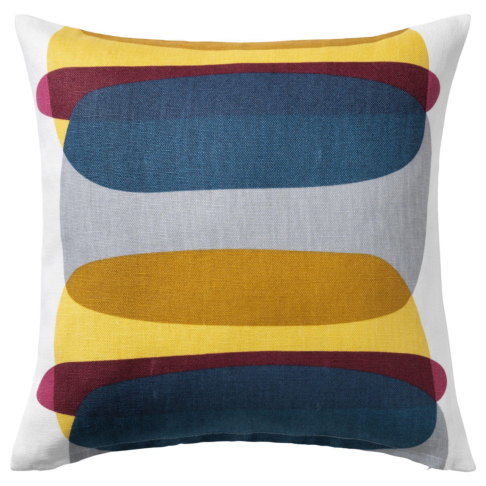 MALIN FIGUR Cushion Cover Blue/grey/yellow 50x50 Cm