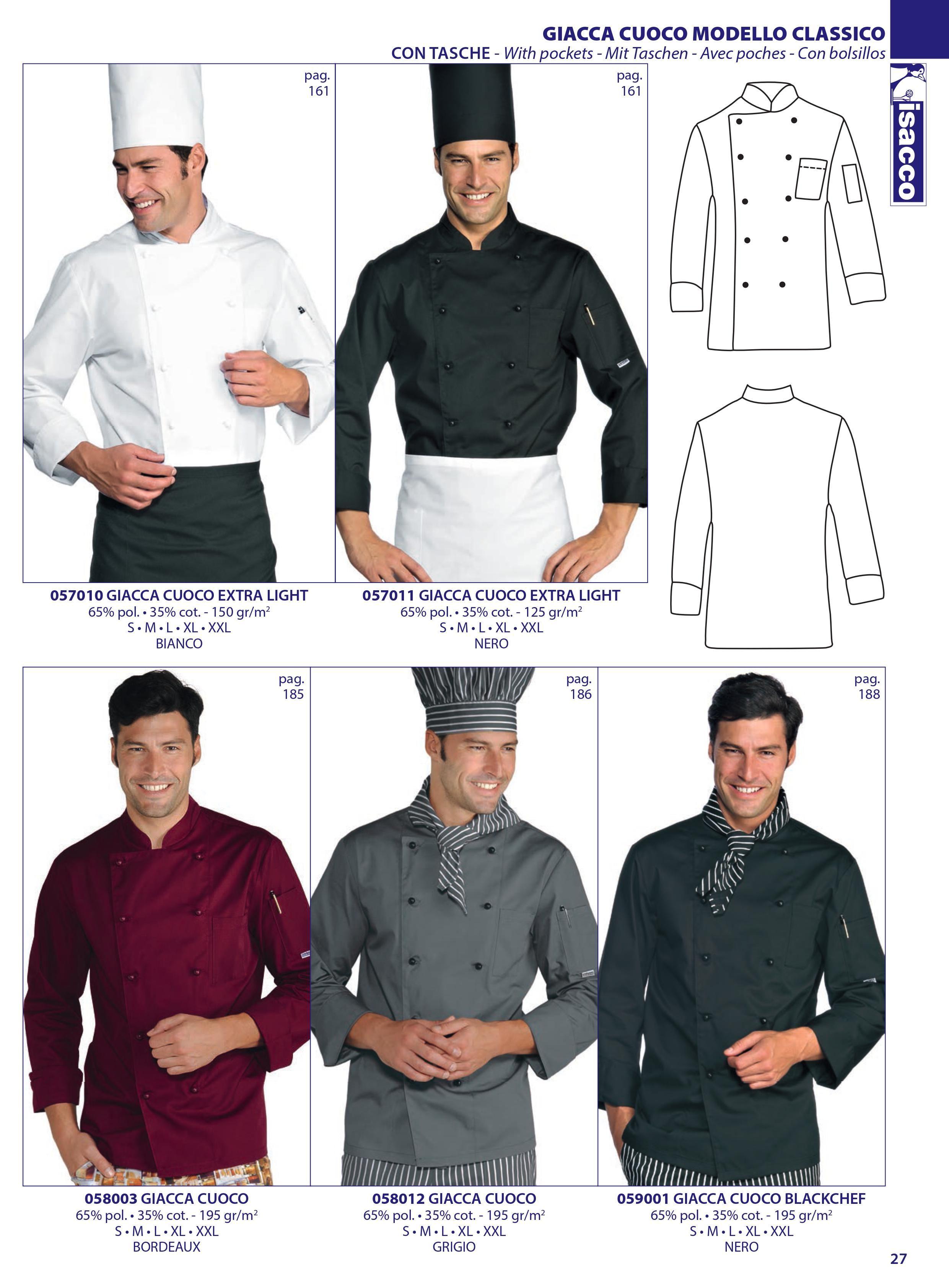 Chaqueta cocina señora y caballero Chef isacco 2016  05e645870dc0