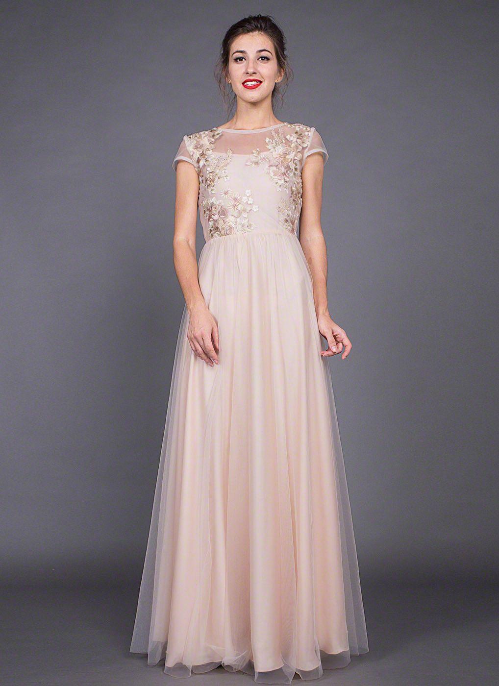 Gigi Floor Length Embroidered Prom Dress
