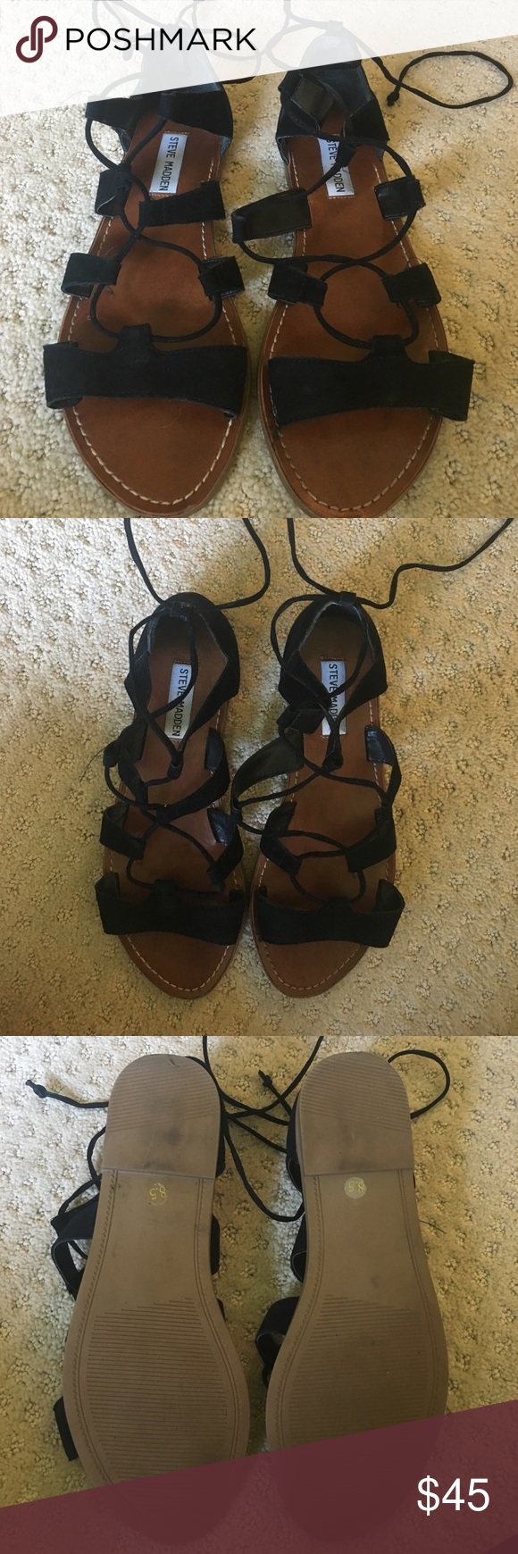 Steve Madden lace up sandals Steve Madden lace up sandals! In nearly perfect condition, only worn twice, and super cute for summer! Steve Madden Shoes Sandals