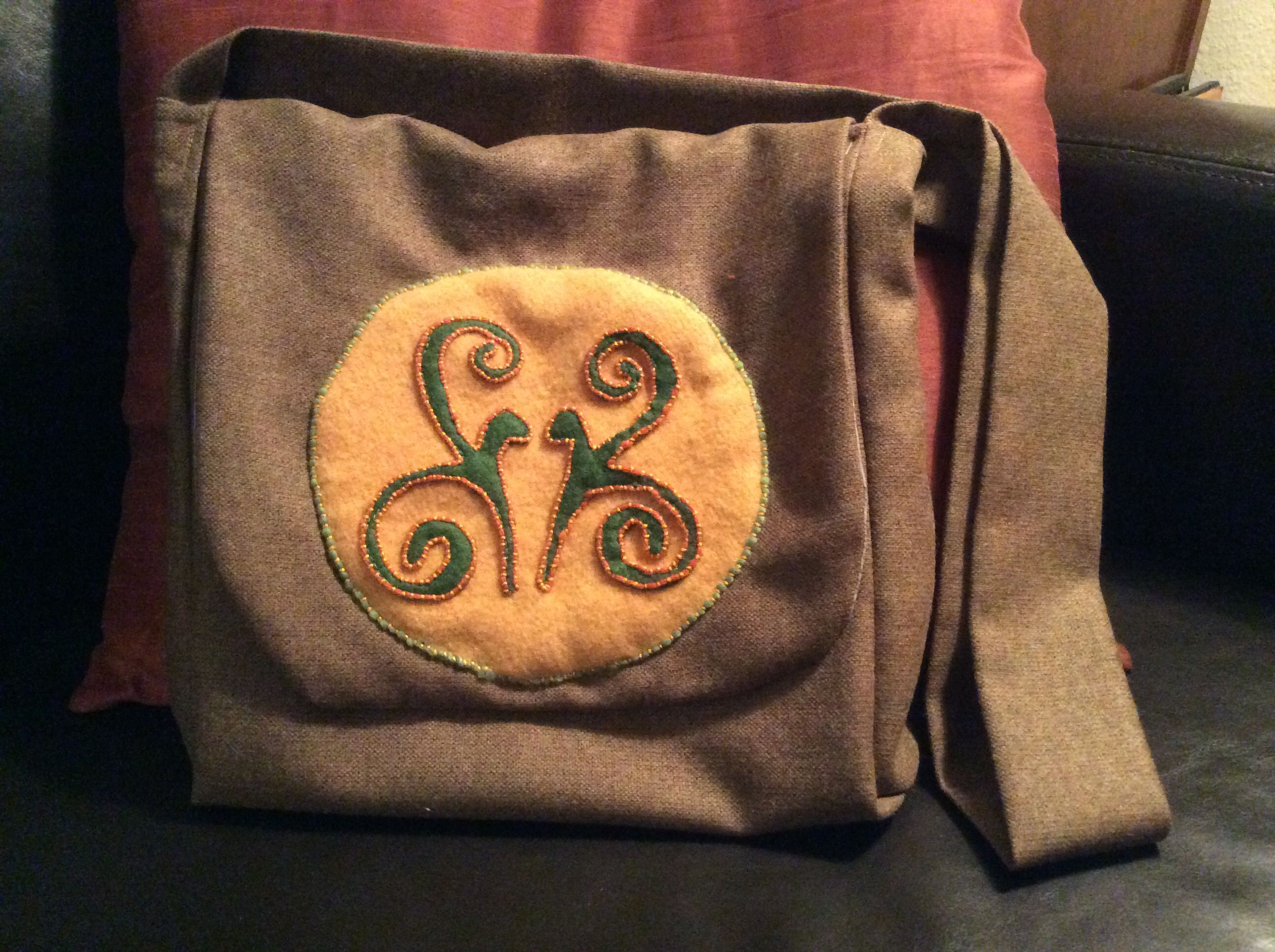 wool and silk Celtic Style Dragon Haversack