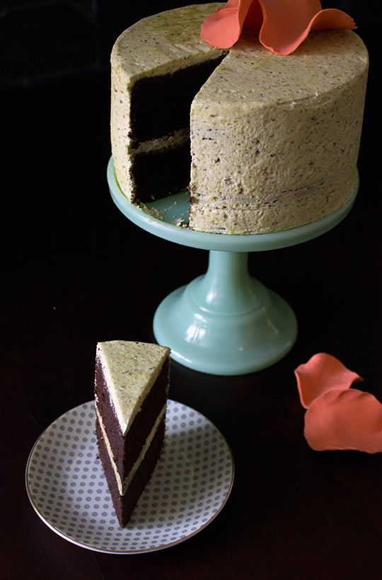 Chocolate Pound Cake with Pistachio Buttercream