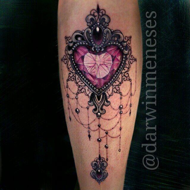 image result for jewelled heart tattoo | tattoos | tatouage