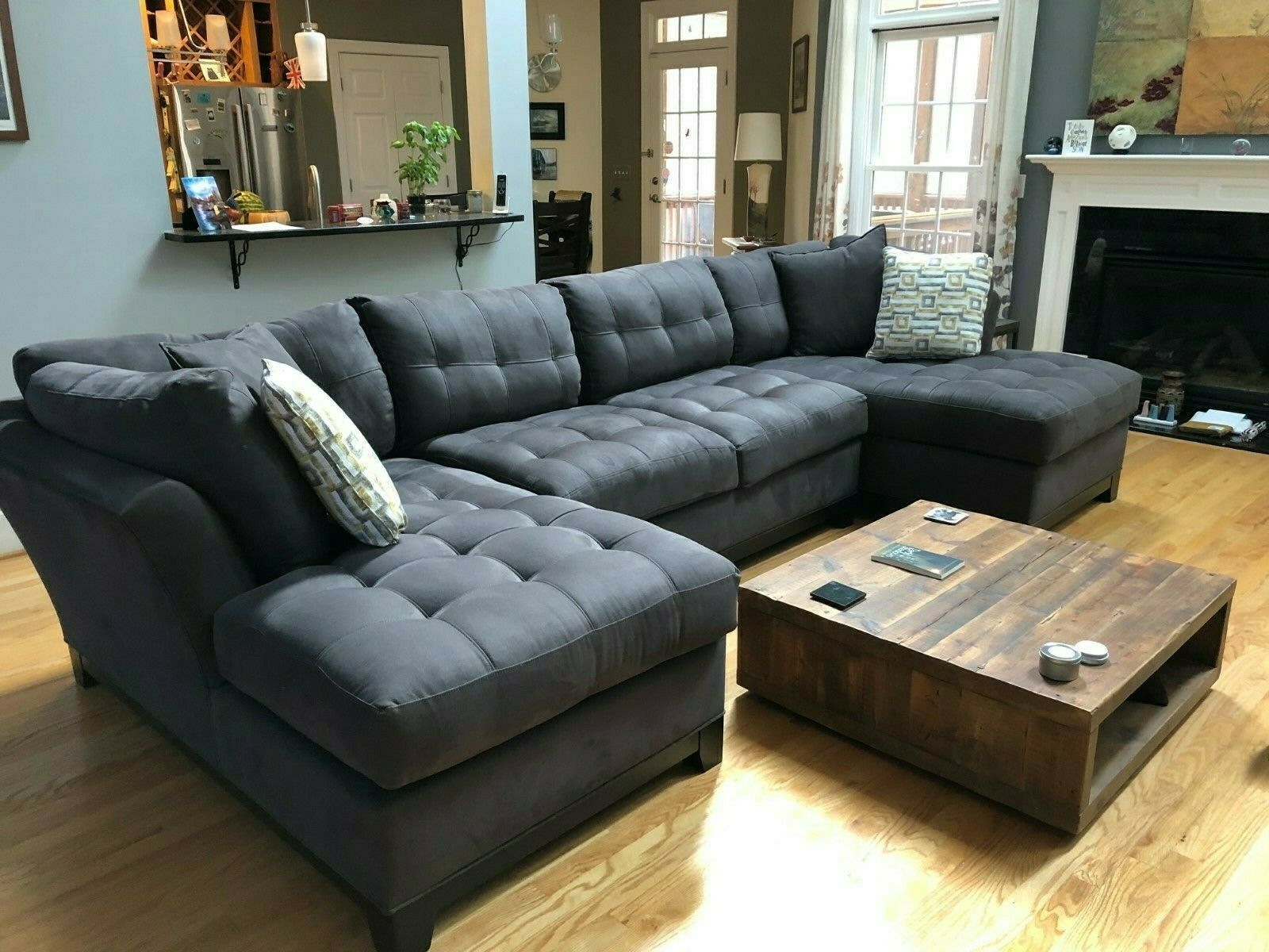 Best Cindy Crawford Metropolis Slate Sectional Sofa Grey 640 x 480