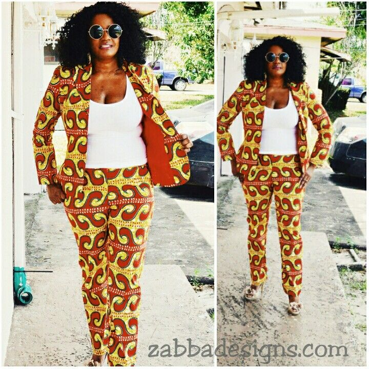 African Print pantsuit. Shop @ zabbadesigns.com #zabbadesigns#african #africanfashionstyle #africanprint #tribalprint #stylepantry #Africanclothing #africandress