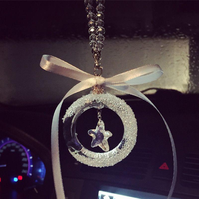 Transparent Crystal Bowknot Car Rear View Mirror Star Ornaments
