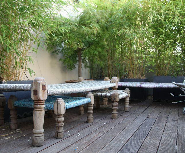 Photo deco terrasse balcon veranda vert oriental for Decoration jardin balcon