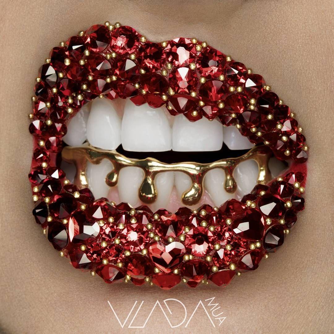 Red Rhinestone Lips With Gold Grill Lip Art Lipstick Art Crazy