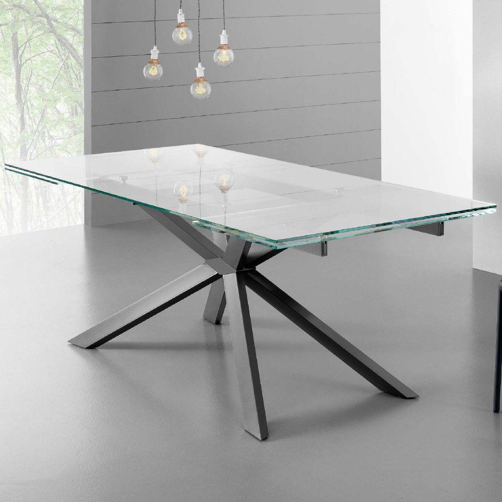 Eurosedia tavolo osaka allungabile in vetro trasparente for Tavoli design online